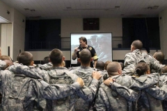 Eric singing for America's newest warriors